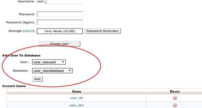 Associa user a database Cpanel