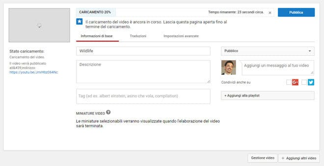 Come Caricare video su YouTube