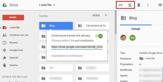 Come condividere cartella Google Drive