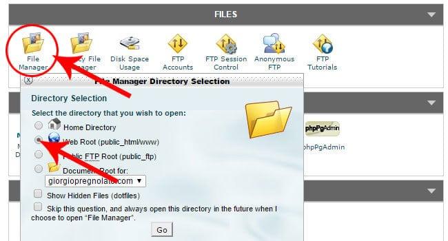Come gestire file manager CPanel