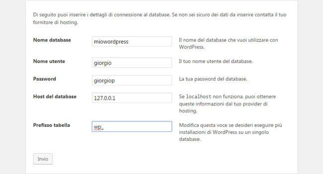Configurazione iniziale WordPress