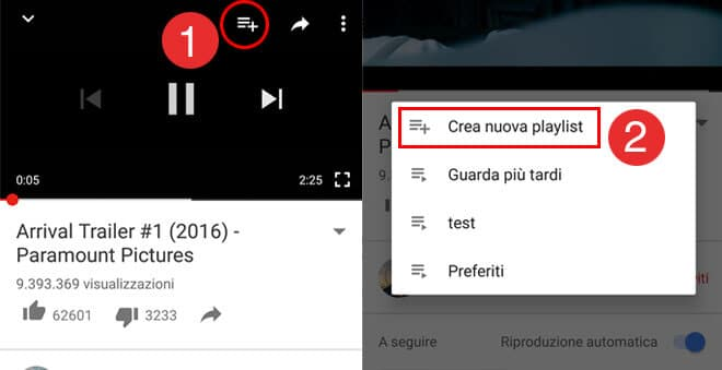 Crea nuova playlist YouTube su Smartphone