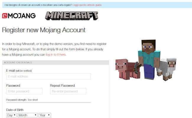 Minecraft modulo registrazione account