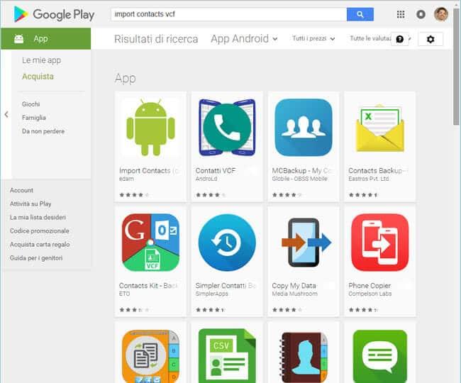 Ripristino contatti da csv Android iOS