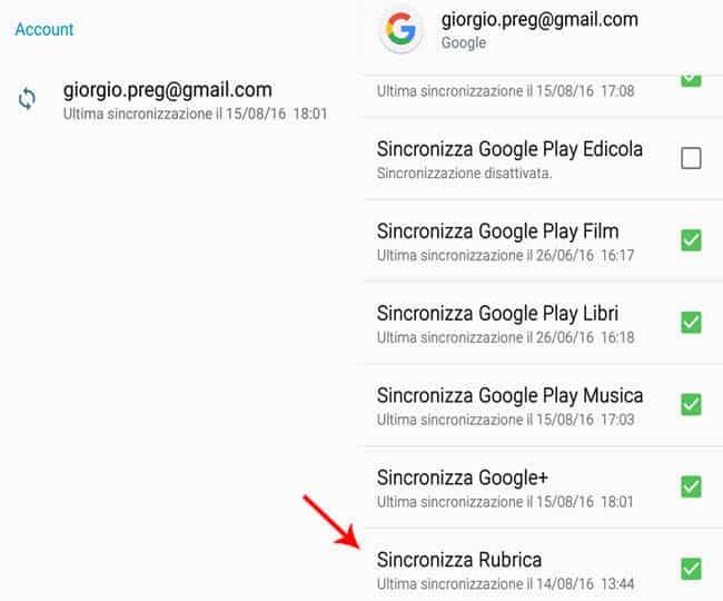 Sincronizza rubrica android gmail