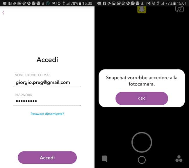come accedere all'app snapchat