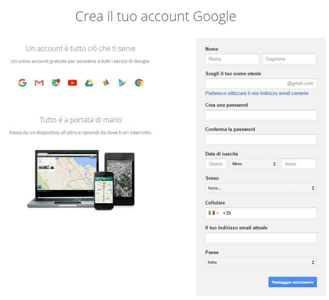 crea account google