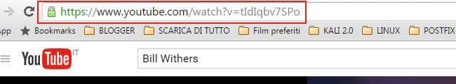 Evidenzia URL YouTube