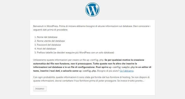 pagina di benvenuto wordpress