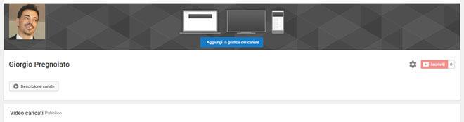 personalizzazione canale youtube