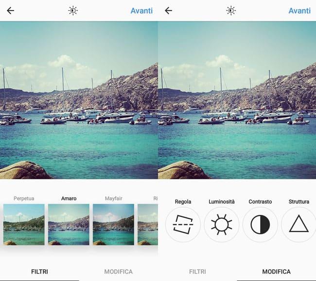 applicare filtri e modificare immagini instagram