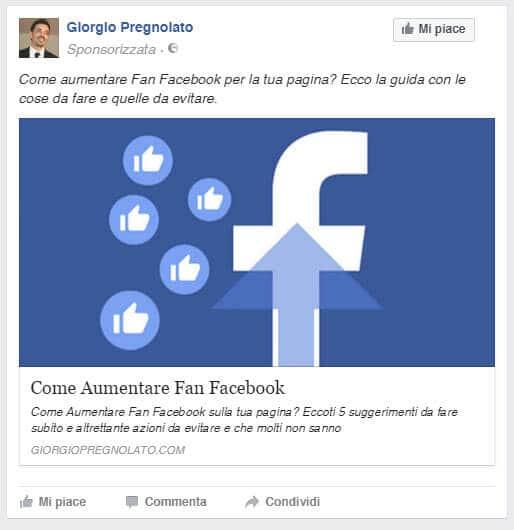 come aumentare fan facebook post sponsiorizzato