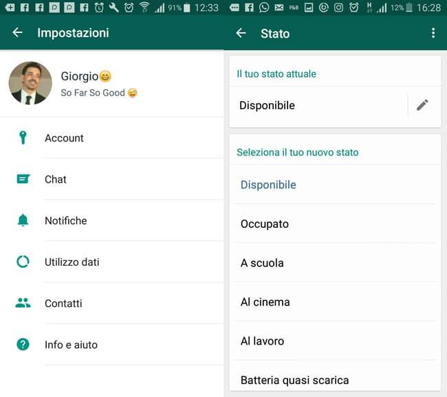 come funziona whatsapp imposta stato