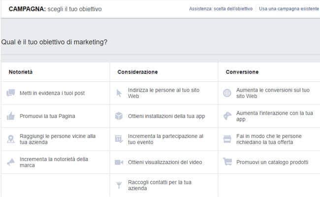 come incrementare le vendite con facebook ads scegli obiettivo