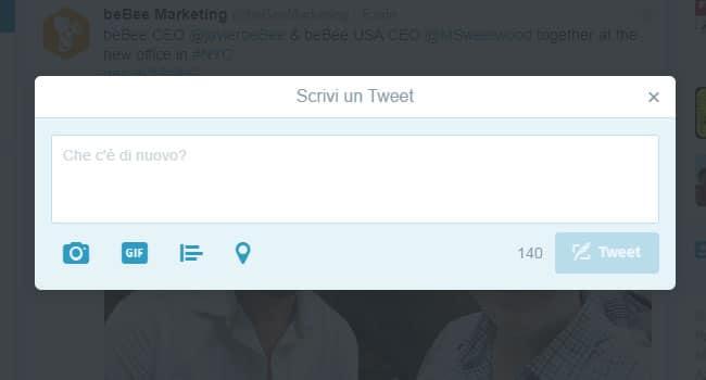 come scrivere un tweet e caricare immagini