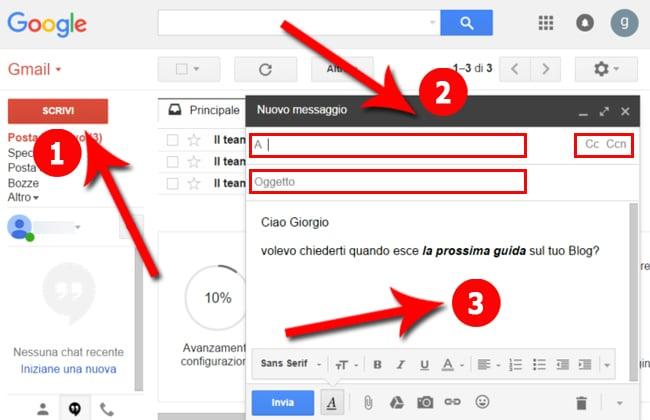 creare nuovo messaggio gmail