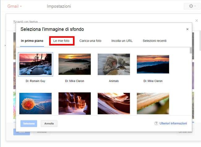 impostare tema con tue foto su gmail