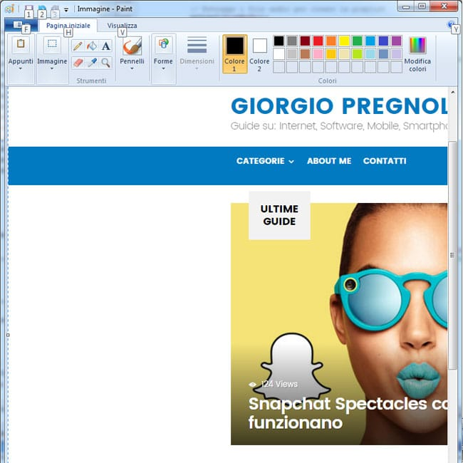 incollare screenshot su paint windows