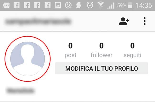 inserire foto profilo instagram