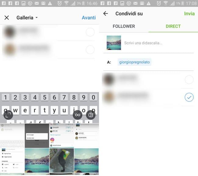 inviare foto e video su instagram