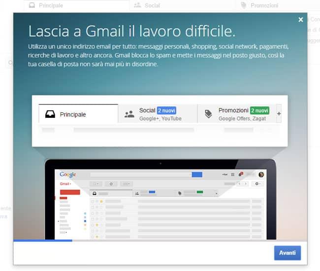 pagina introduzione gmail