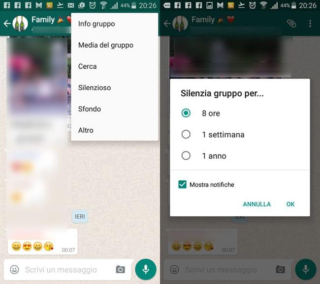 silenziare notifiche gruppo whatsapp