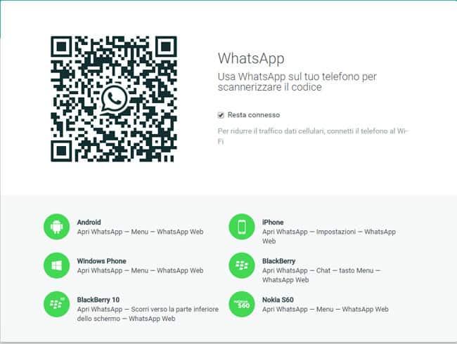 whatsapp scansione codice QR