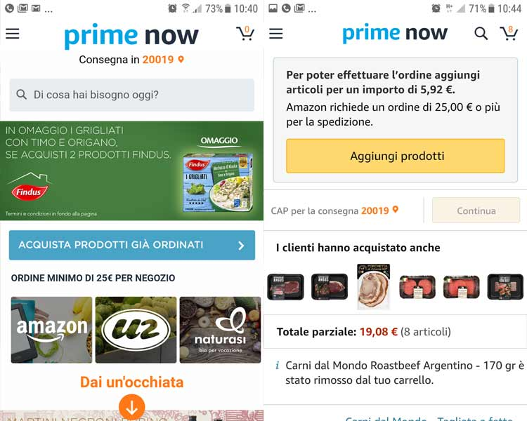 carrello ordine minimo amazon prime now