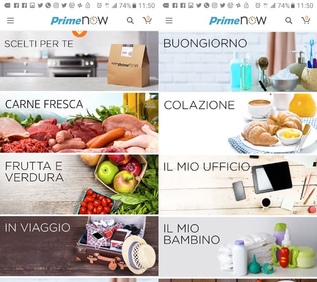 categorie prodotti app amazon prime now