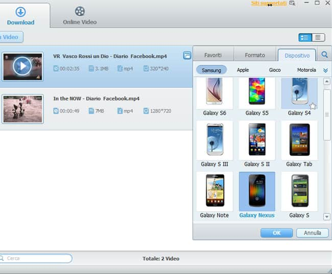 itube studio converti video per dispositivo