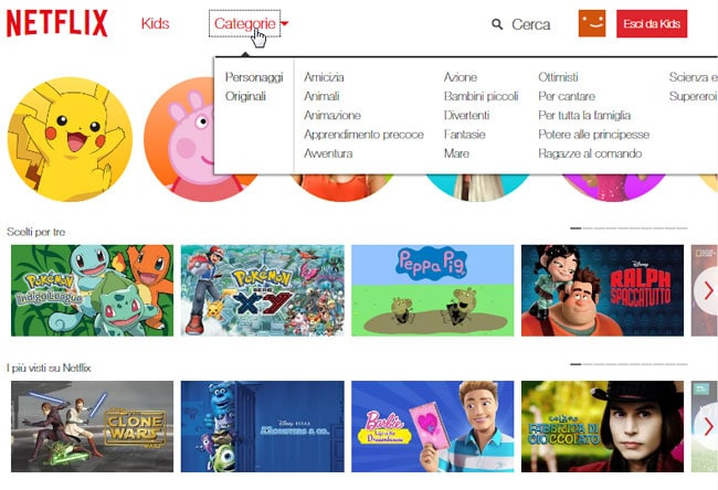 netflix kids categorie