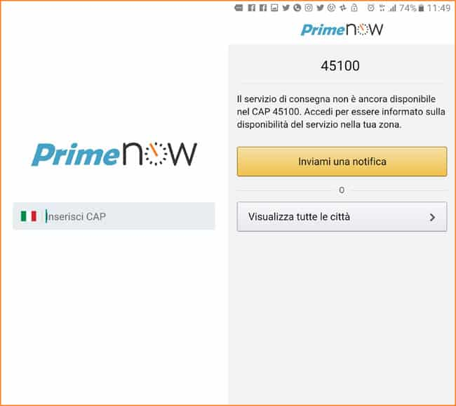 primo accesso app amazon prime now