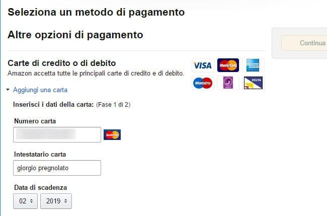 registrazione abbonamento amazon prime inserisci dati carta credito