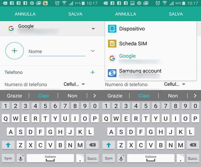 salvare contatti smartphone account gmail