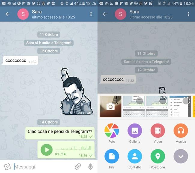 telegram messaggi vocali e allegati