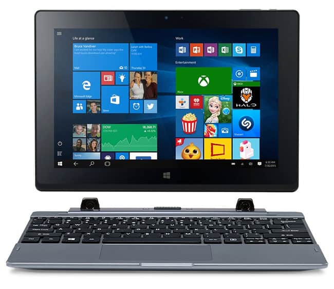 Acer One 10 Convertibile 2-in-1, Display da 10.1 IPS, RAM 2 GB, HDD da 32GB eMMC, Scheda Grafica Intel HD Graphics, Argento