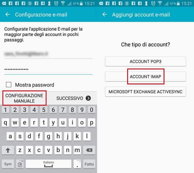configurazione libero mail android client