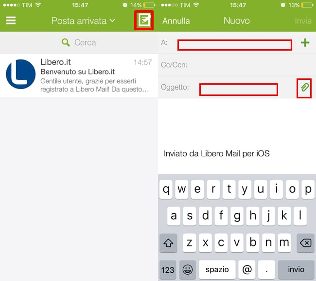 come usare libero mail app iphone