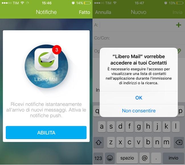 libero mail app iphone conf account
