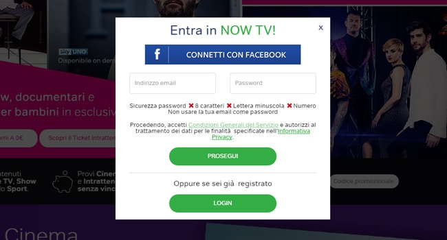 now tv iscrizione