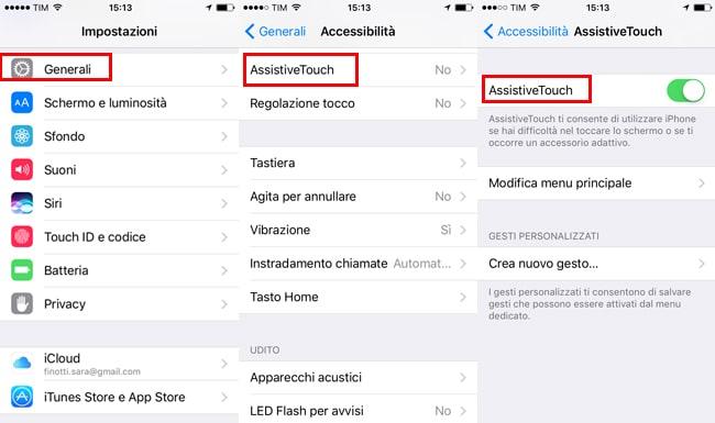 screenschot iphone senza tasti