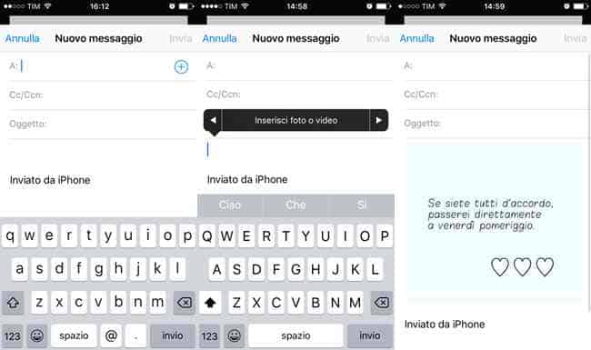allegare file mail iphone