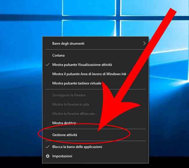 apri gestione attivita windows 10