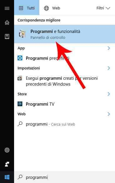 programmi e funzionalita windows 10