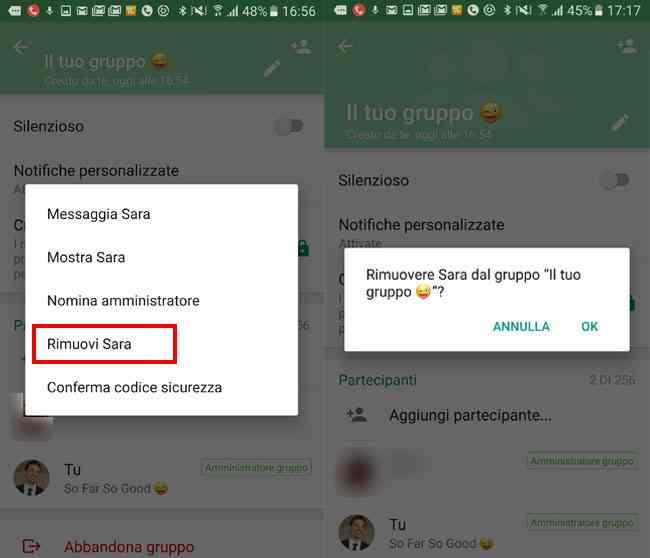 rimuovere partecipanti gruppo whatsapp