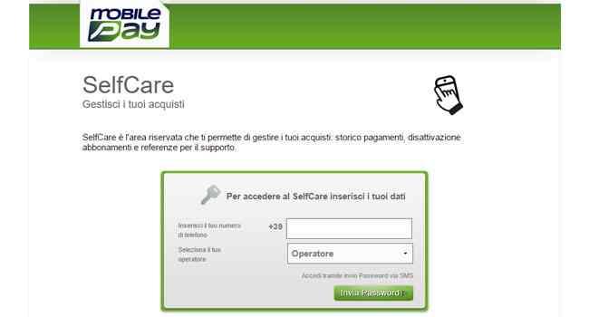 selfcare mobile pay gestire acquisti