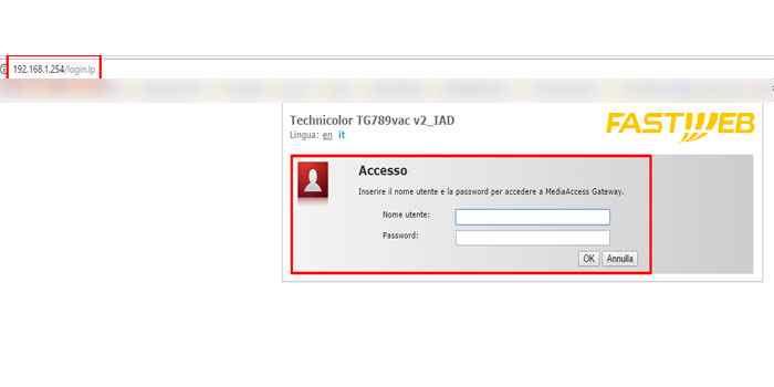 accesso pannello controllo fastweb