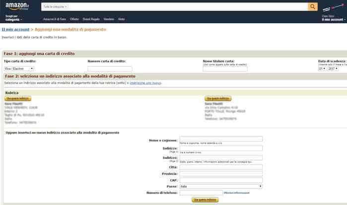 aggiungere carta di credito amazon