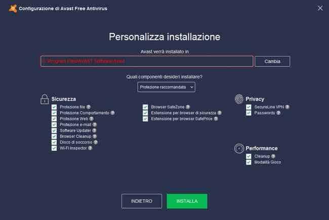 avast free antivirus personalizzazione installazione