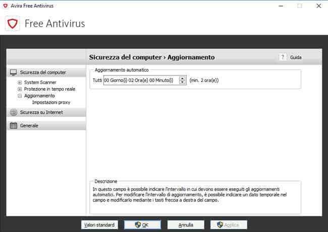 avira antivirus programmare aggiornamenti